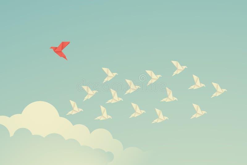 Направление минималистской птицы stile красной изменяя и белые одни Новая идея, изменение, тенденция, смелость, творческое решени бесплатная иллюстрация