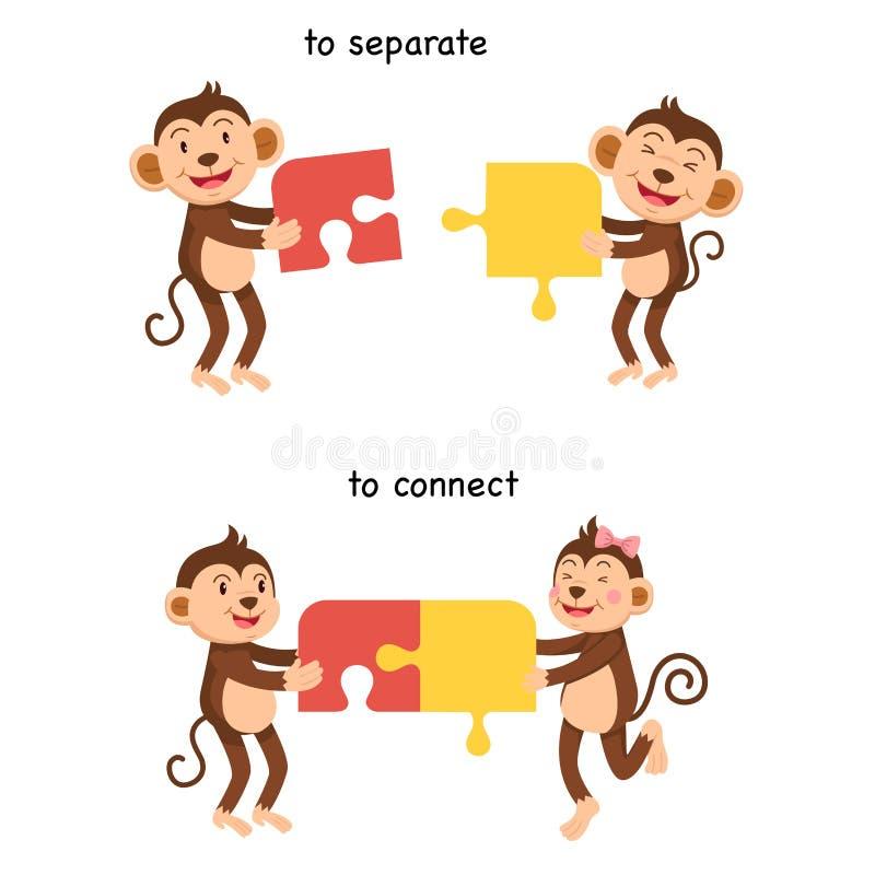 Напротив соединитесь и отделить иллюстрация вектора