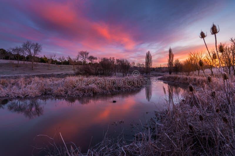 над солнцем яркой шерсти красным заход солнца покрывает зима валов стоковое изображение