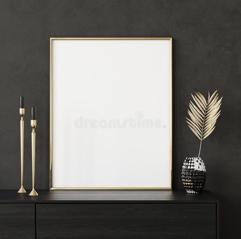 Насмешливый поднимающий вверх крупный план рамки плаката в черной внутренней предпосылке стоковые фото