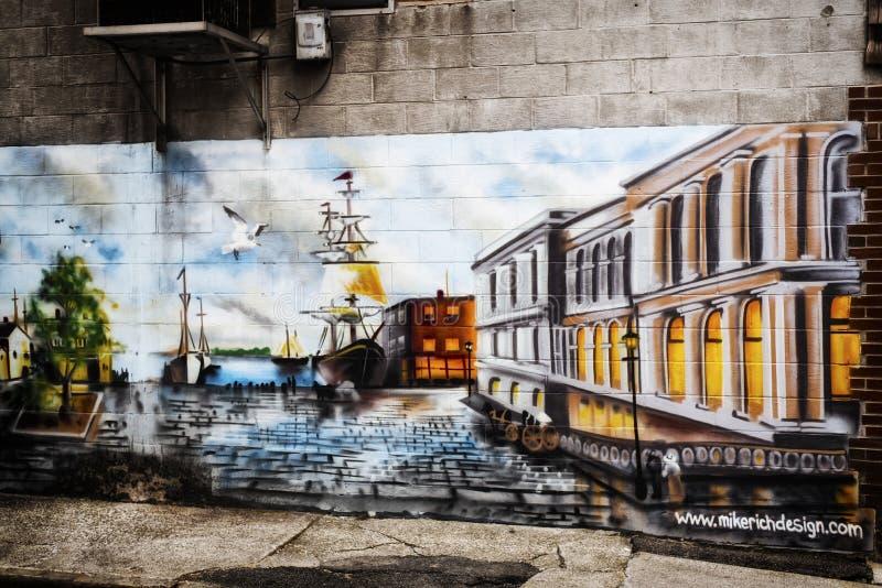 Настенная роспись гавани на стене в Портленде Мейне стоковая фотография