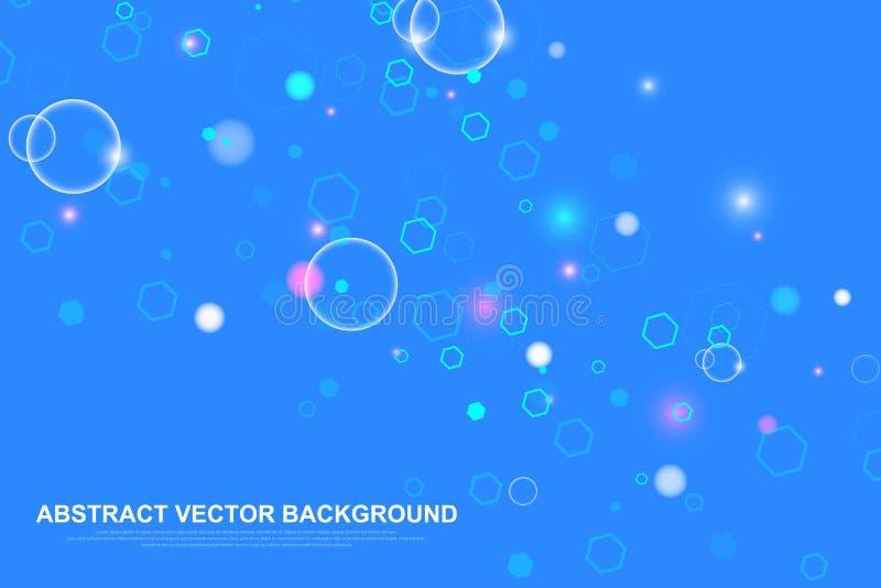 Научная предпосылка молекулы для медицины, науки, технологии, химии Подача волн Обои или знамя с ДНК иллюстрация штока