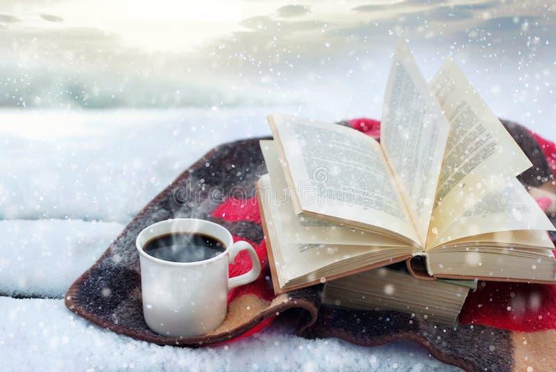 Натюрморт зимы: чашка кофе и раскрытая книга стоковые фотографии rf