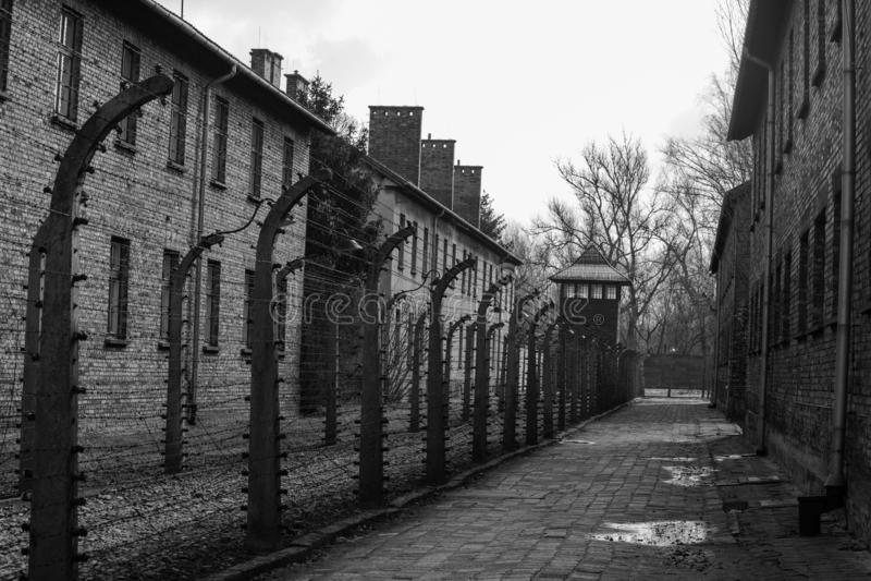 Нацистский концентрационный лагерь Освенцим в Польше, 12-ое марта 2019 стоковое фото
