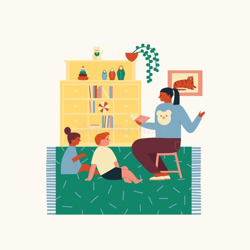 Начальная школа или preschool дети сидя и читая книга с учителем Образование иллюстрации детей в векторе бесплатная иллюстрация