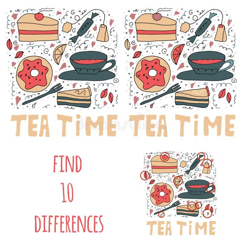находка 10 разниц Установите сладких веществ Торты, donuts, чай и помадки иллюстрация штока