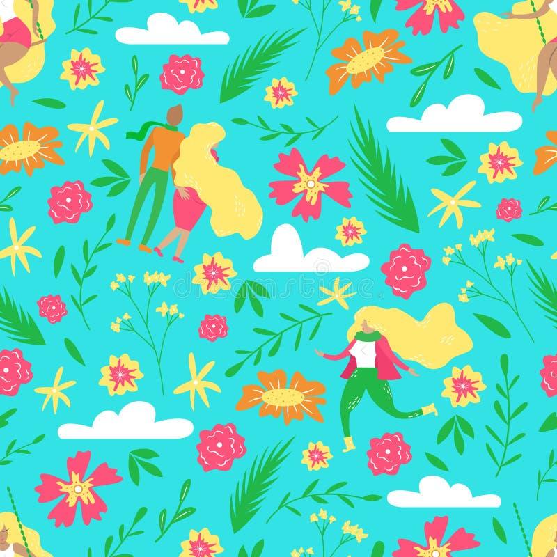 Нарисованная вручную флористическая безшовная картина Иллюстрация вектора ботаническая с милыми людьми бесплатная иллюстрация