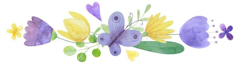 Нарисованная вручную цветочная композиция акварели букет стилизованных цветков стоковое фото rf