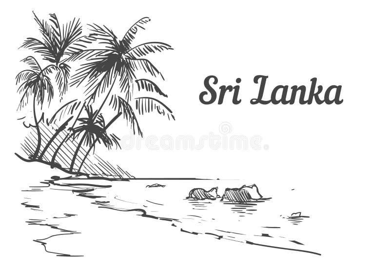 Нарисованная рука острова Palm Beach Шри-Ланка Иллюстрация вектора эскиза Шри-Ланка иллюстрация штока