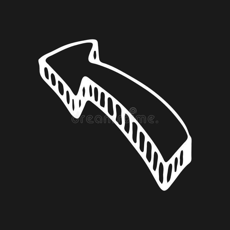 Нарисованный рукой значок doodle стрелки 3D внезапный тип эскиза света компьтер-книжки символ знака Элемент украшения Изолировано иллюстрация вектора