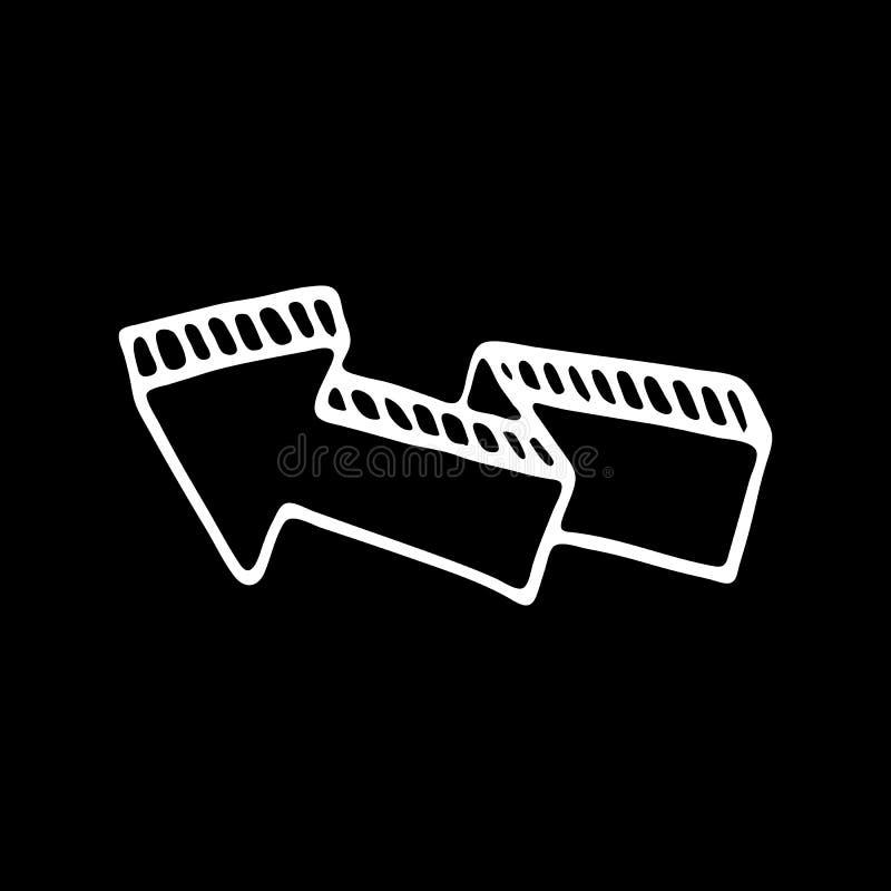Нарисованный рукой значок doodle стрелки 3D внезапный тип эскиза света компьтер-книжки символ знака Элемент украшения Изолировано иллюстрация штока