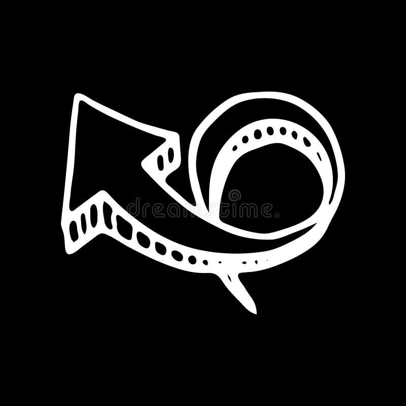 Нарисованный рукой значок doodle стрелки 3D внезапный тип эскиза света компьтер-книжки символ знака Элемент украшения Изолировано бесплатная иллюстрация