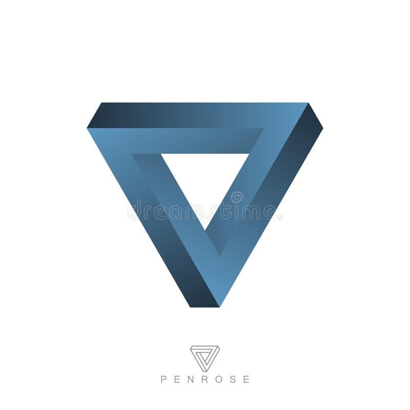 Невозможный треугольник, визуальная иллюзия, эзотерический символ иллюстрация штока