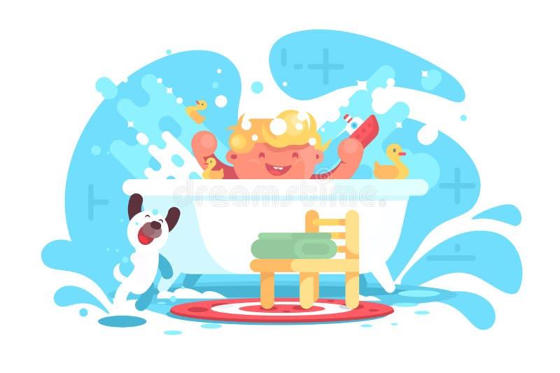 Немногое жизнерадостный младенец имея потеху в ванне иллюстрация штока