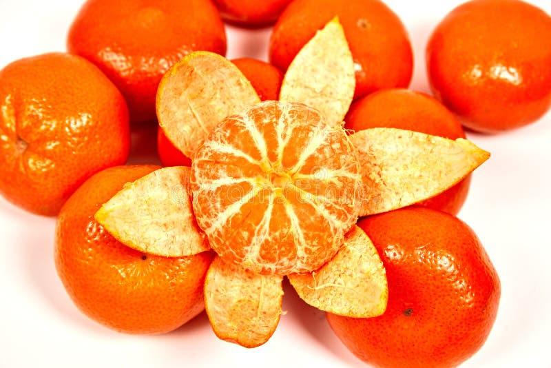 немного мандарин на белой предпосылке стоковая фотография