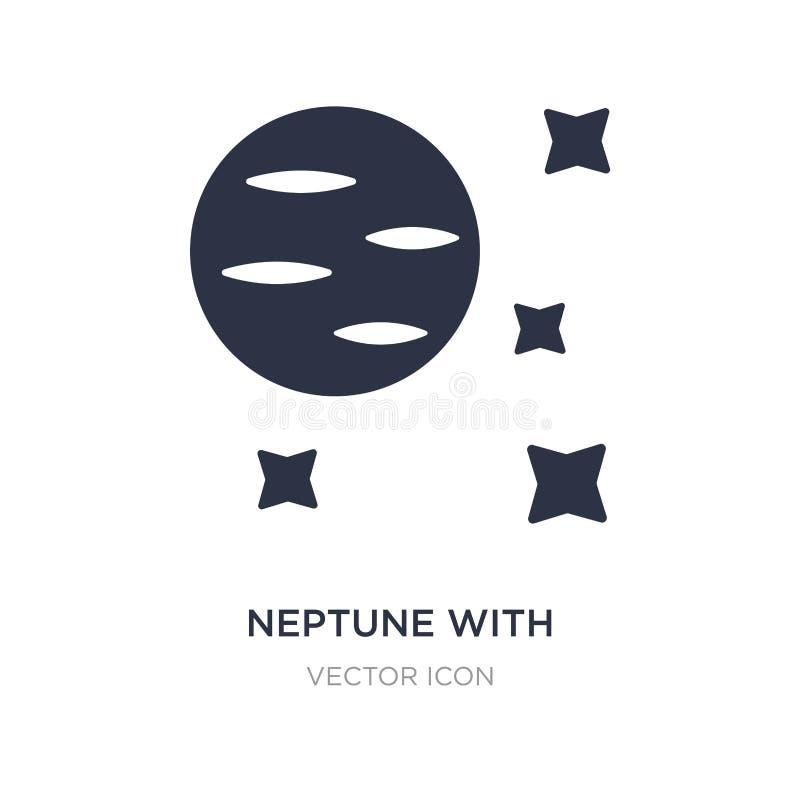 Нептун со спутниковым значком на белой предпосылке Простая иллюстрация элемента от концепции астрономии бесплатная иллюстрация