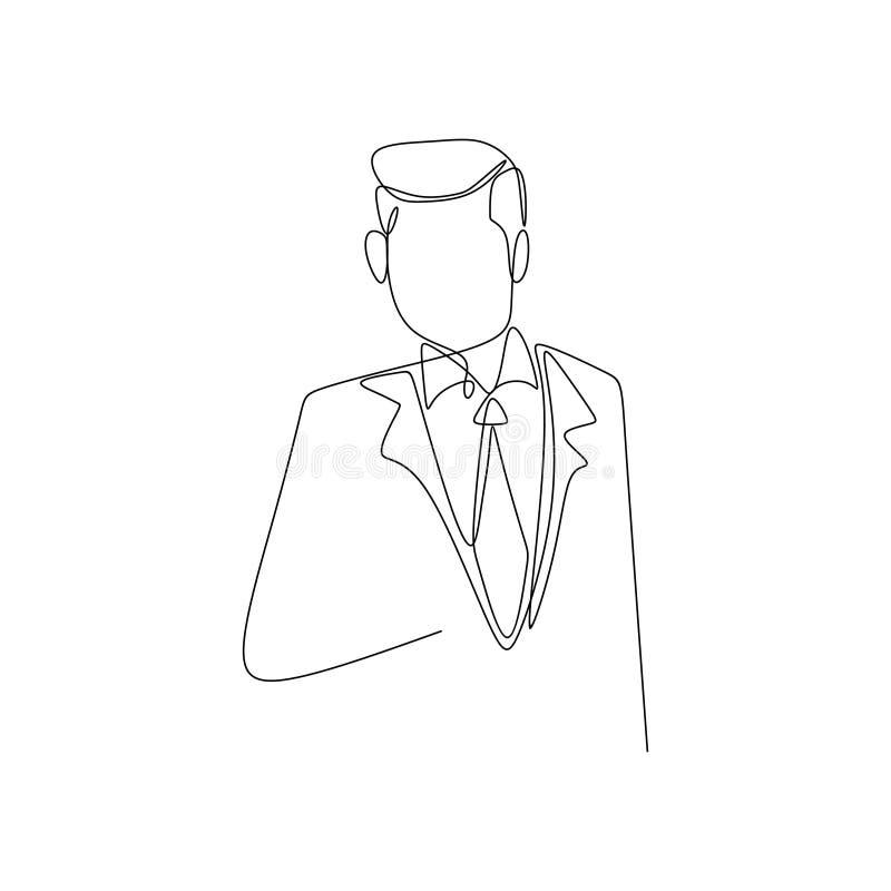 непрерывная линия чертеж платья дела человека успеха нося иллюстрация вектора