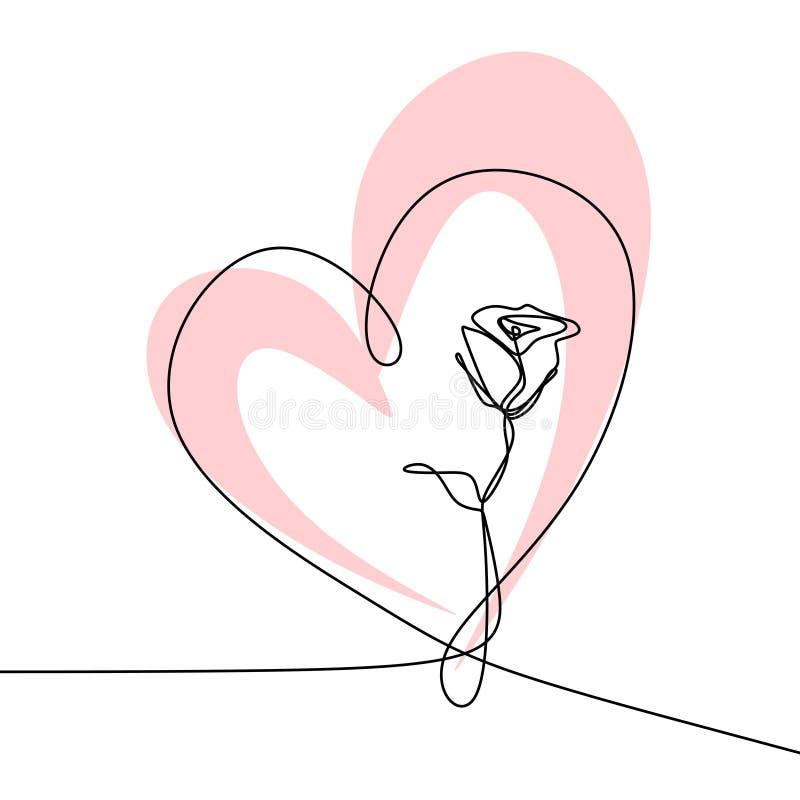 Непрерывная одна линия иллюстрация вектора чертежа концепции минимализма дизайна розового цветка минималистской бесплатная иллюстрация