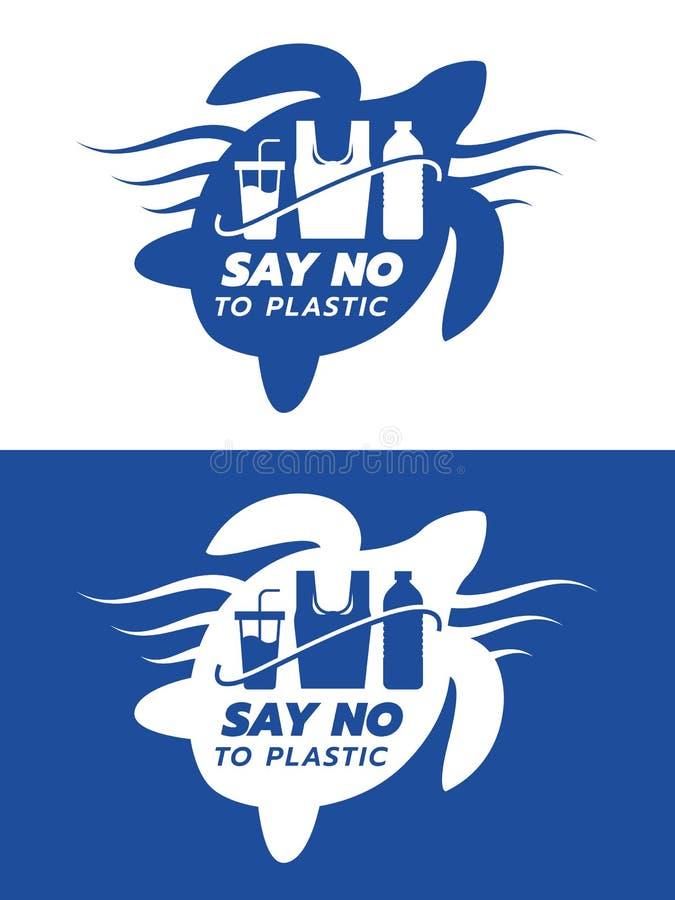 Не скажите не к пластиковому знамени с голубой и белой бутылкой стекла сумки сделанной пластикового знака внутри в дизайне вектор иллюстрация штока