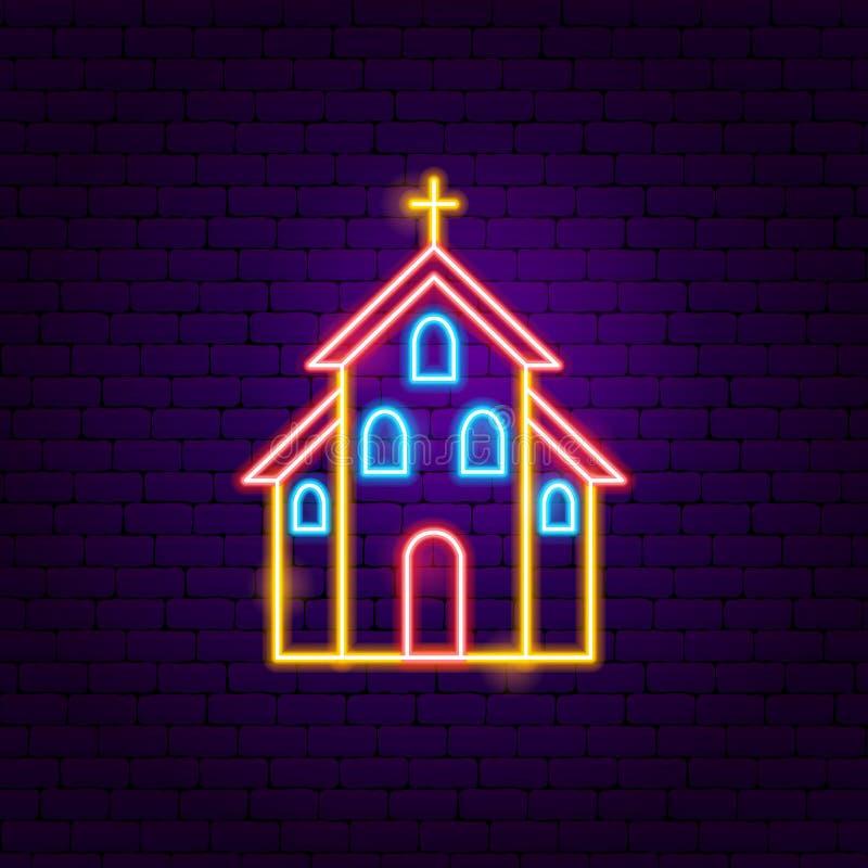 Неоновая вывеска церков иллюстрация штока