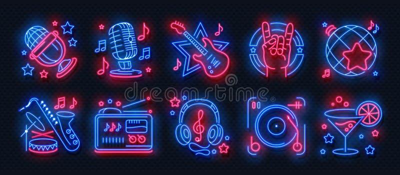 Неоновые значки партии Знаки света караоке танцевальной музыки, накаляя знамя концерта, плакат диско бара утеса Ночь вектора ретр иллюстрация штока