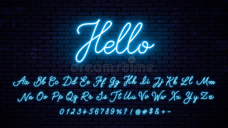 Неоновый алфавит на предпосылке стены иллюстрация вектора