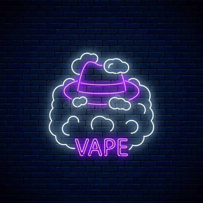 Неоновый шильдик магазина или клуба vape Накаляя неоновая вывеска со шляпой человека в дыме vape иллюстрация вектора