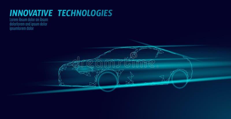 Низкая поли спортивная машина на темной предпосылке Технология 3D автомобиля шоссе быстрой скорости новаторская представить Голуб иллюстрация вектора