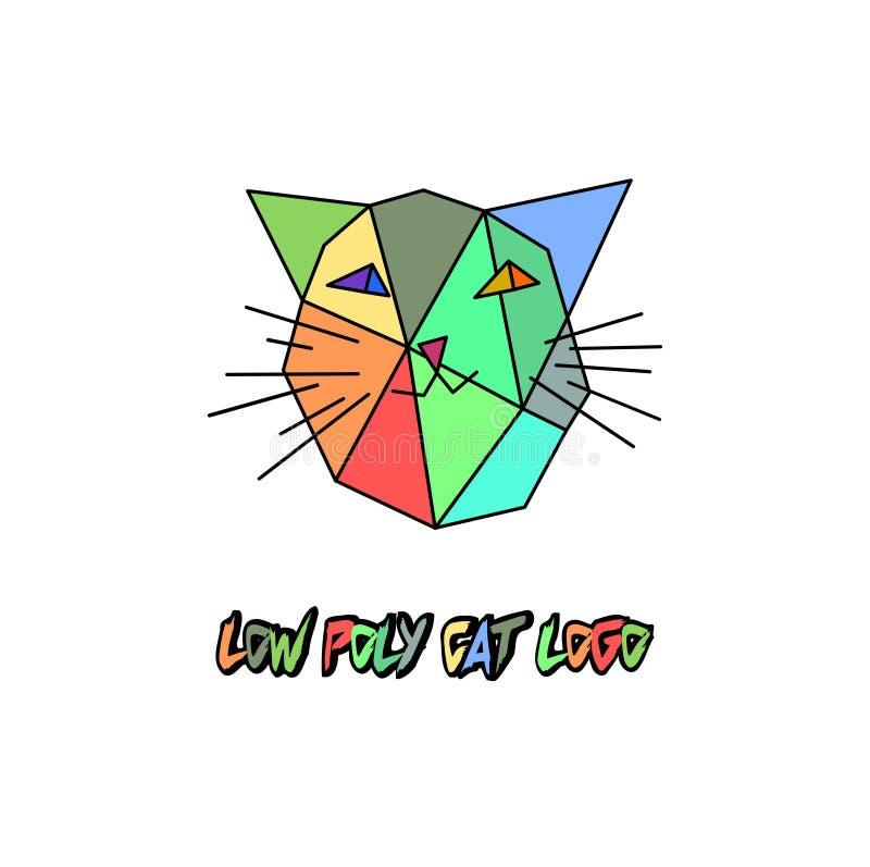 Низкий поли логотип кота вектора Голова киски poligonal Triengles красочная для детей иллюстрация штока