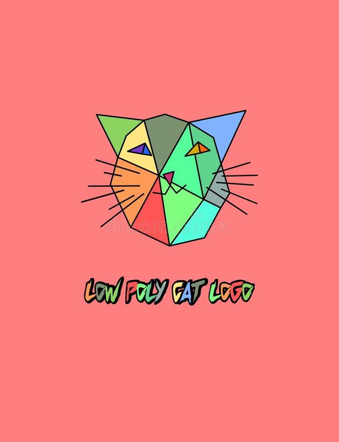 Низкий поли логотип кота вектора Голова киски poligonal Triengles красочная для детей бесплатная иллюстрация