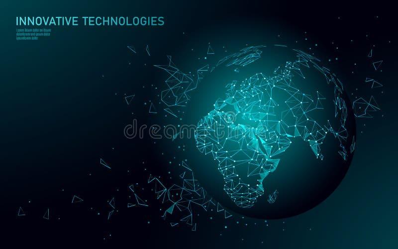 Низкое поли соединение глобального бизнеса земли планеты Глобальный онлайн континент Европы Африки карты мира сети международно бесплатная иллюстрация