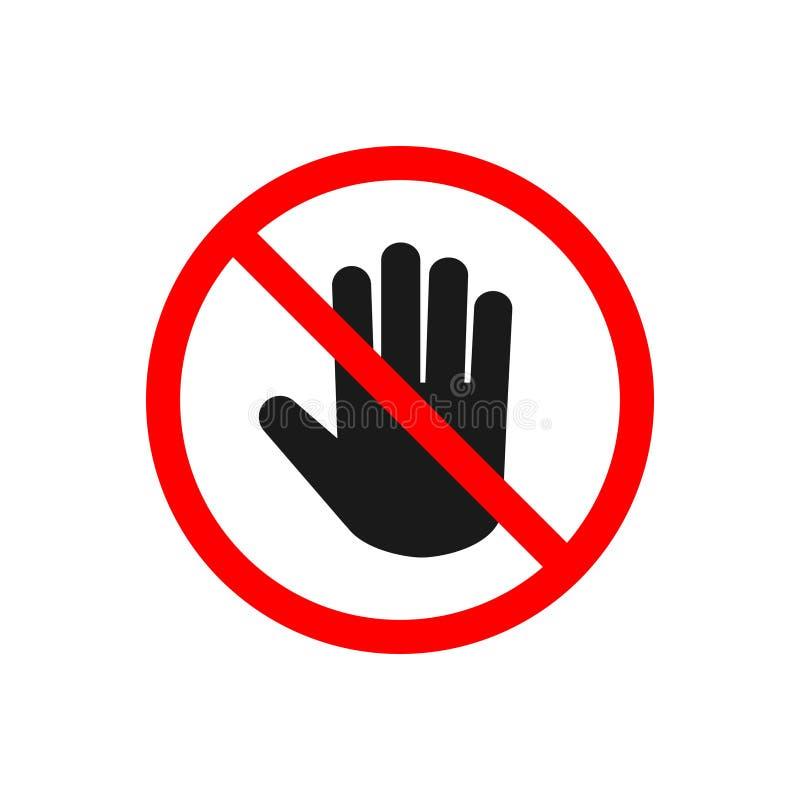 Никакой вход, не останавливает знак, не касается вектору значка Знак руки для запрещенной концепции для вашего дизайна вебсайта,  бесплатная иллюстрация
