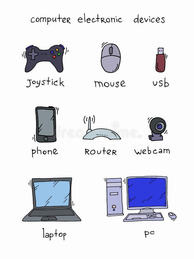 Нand drawn doodles of electronic gadgets and devices. Computer, laptop, monitor stock illustration