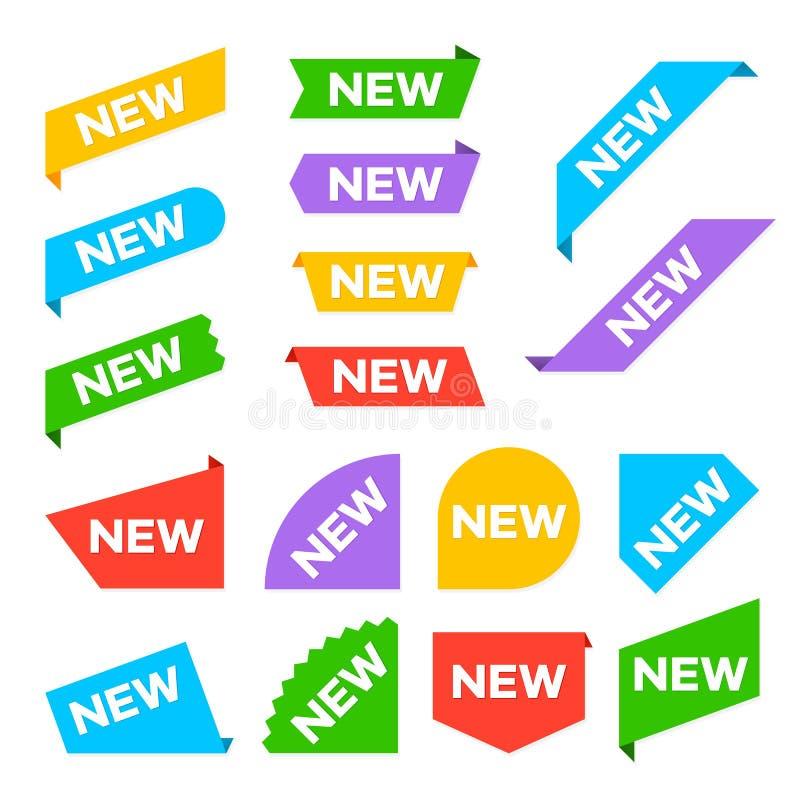 Новые угловые ярлыки Новые ярлыки бирки и набор знамен продуктов прибытия изолированный вектором бесплатная иллюстрация