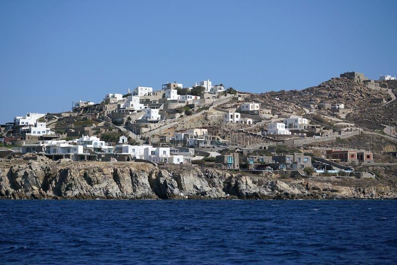 Новые роскошные здания постоянно поднимают в Mykonos на островах Кикладов стоковые фото