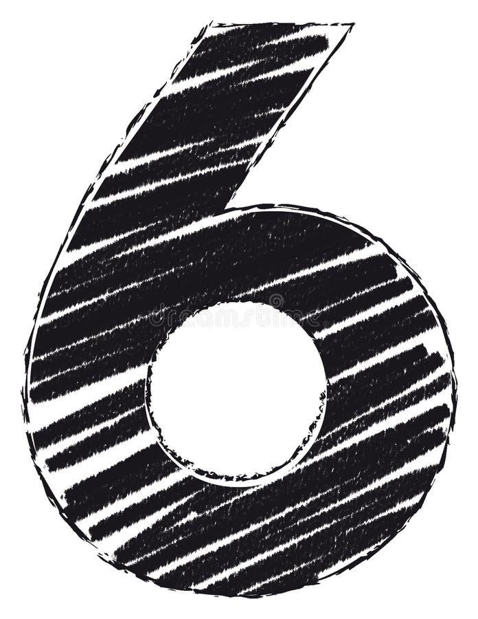 Номер нарисованный со стилем brushstroke 6, 6 бесплатная иллюстрация