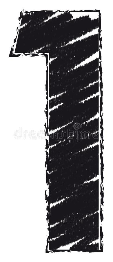 Номер нарисованный со стилем brushstroke 1, одно иллюстрация штока