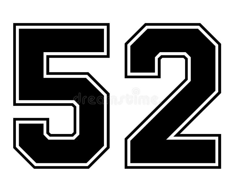 Номер Джерси спорта 52 классик винтажный в черном номере на белой предпосылке для американского футбола, бейсбола или баскетбола иллюстрация вектора