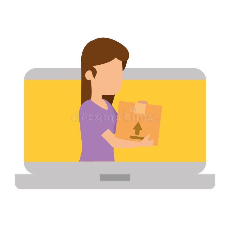 Ноутбук с женщиной получая товар бесплатная иллюстрация