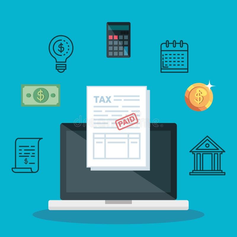 Ноутбук с отчетом об и калькулятором сервисного налога бесплатная иллюстрация