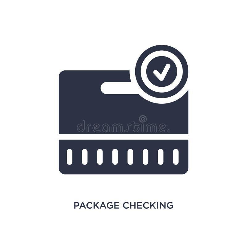 пакет проверяя значок на белой предпосылке E иллюстрация штока