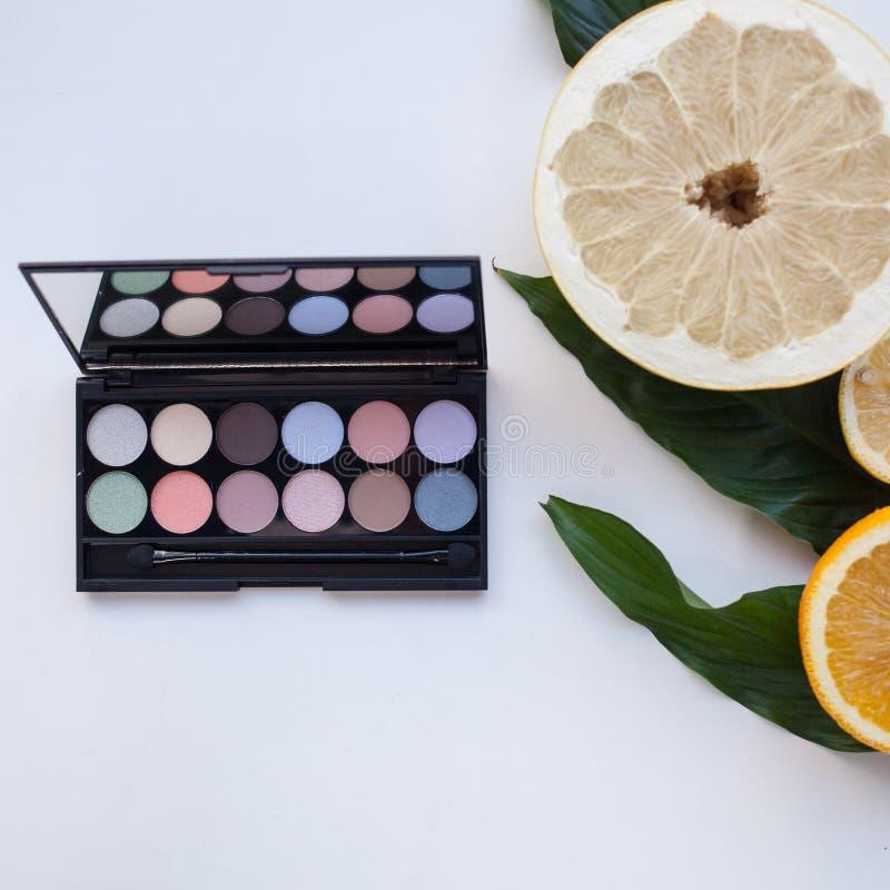 Палитра пастельной multicolor косметики составляет, наблюдает палитру тени, красочную текстуру теней стоковая фотография