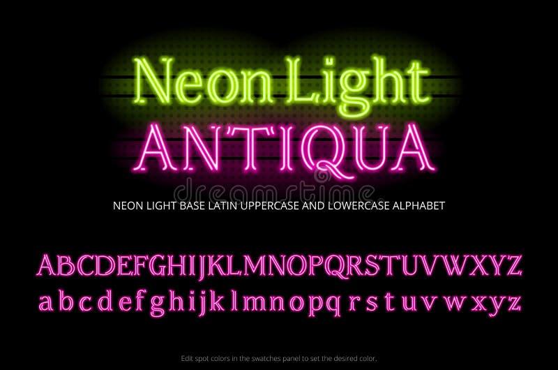 Пальмира алфавита неоновой трубки Неоновые письма serif света цвета Низкопробный латинский uppercase и строчный тип набор Полный  иллюстрация штока