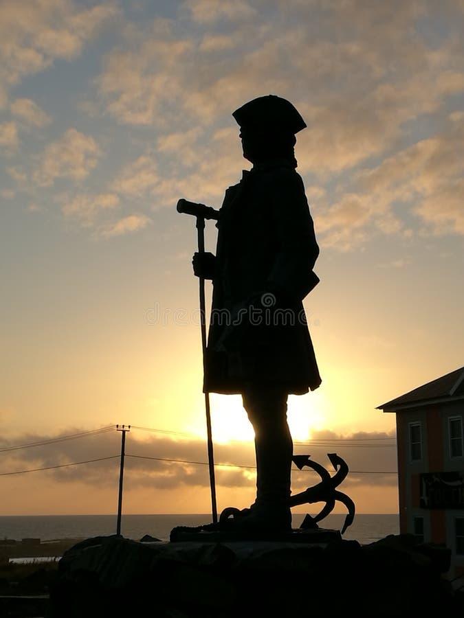 памятник Витусу Беринга. Sculpture of bronze Captain Commander Vitus Bering. He landmark royalty free stock image