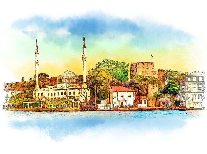 Панорама Стамбула, Турции Эскиз акварели иллюстрация вектора