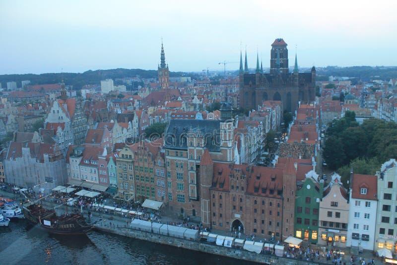 Панорамный вид Гданьск Польши от высоты колеса Ferris стоковая фотография rf