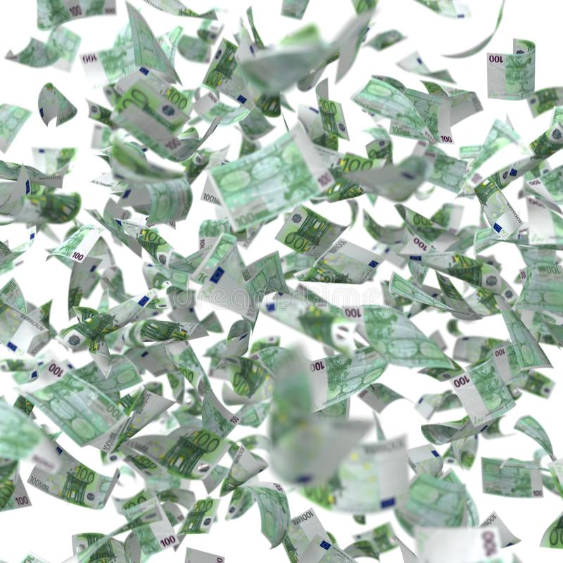 Падая деньги 100 счетов евро стоковые изображения