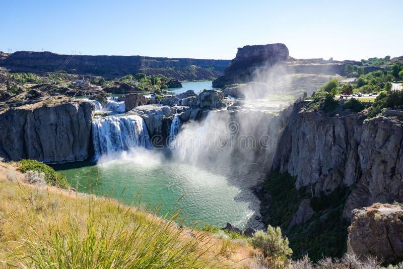 Падения Шошона в утро, Twin Falls, Айдахо стоковое изображение rf