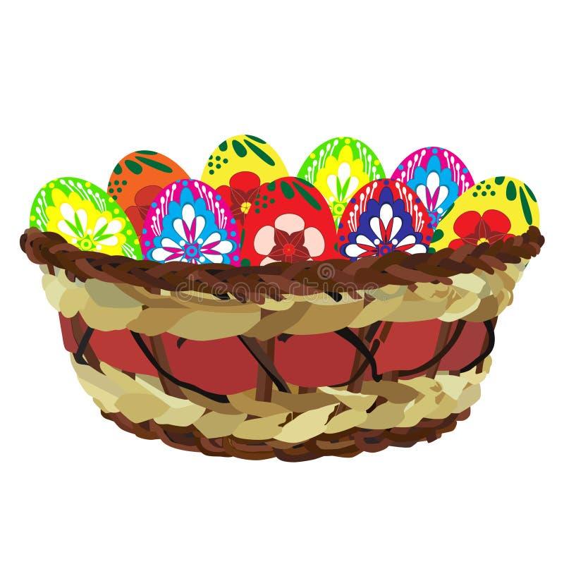 Пасхальные яйца в плетеной корзине, иллюстрации вектора плоской изолированной иллюстрация штока