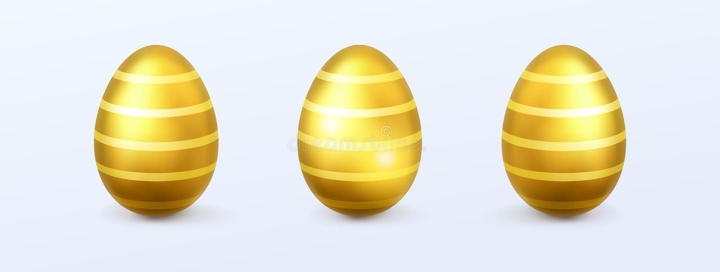 Пасхальные яйца золота реалистические иллюстрация вектора